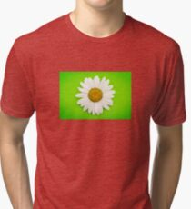 White Daisy on Green Tri-blend T-Shirt