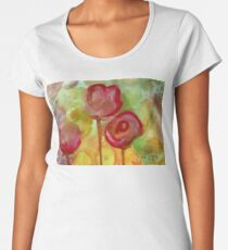 Project 321 - Red Watercolor Flowers Women's Premium T-Shirt