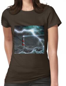 Lighthouse in the storm Womens Fitted T-Shirt