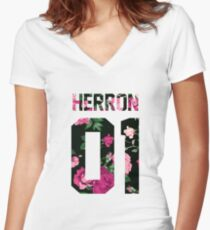 Zach Herron - Colorful Flowers Women's Fitted V-Neck T-Shirt