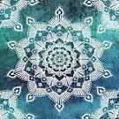 Aqua Spirit Mandala Turquoise Blue Green White by ImageMonkey