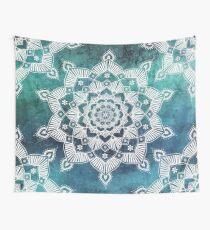 Aqua Spirit Mandala Turquoise Blue Green White Wall Tapestry