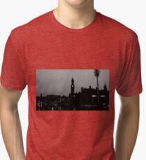 Black and White City Silhouette Tri-blend T-Shirt