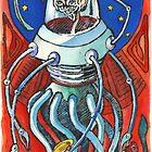 Susan - Alien Floating Brain Robot Holding Ray Gun from Hand-Colored Linocut Print Original by Monkeynaut