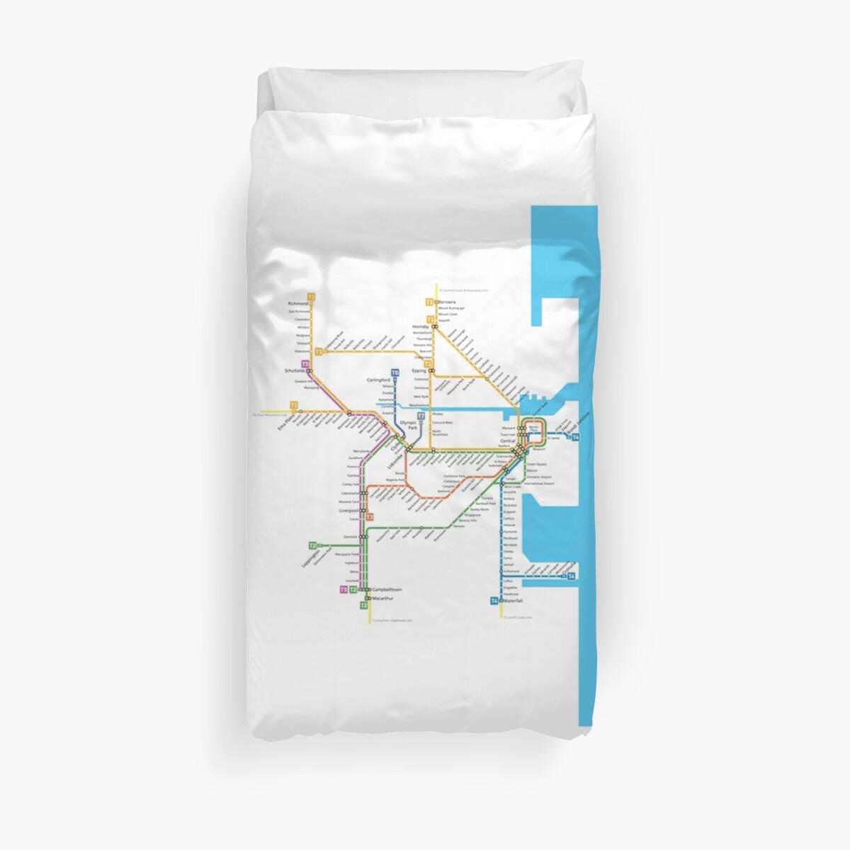 Sydney Trains Map Duvet Cover