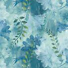 Ragusa Floral - Aegean Blue by Lynn Nafey