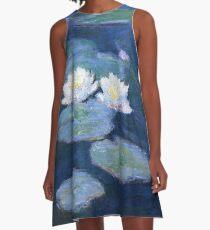 Two Water Lilies Monet Fine Art A-Line Dress