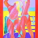 Beach shower with Red Frame. by Virginia McGowan