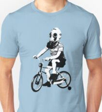 Kid riding bike with gas mask T-Shirt