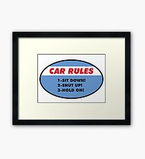Funny Car Rules Sticker Framed Print