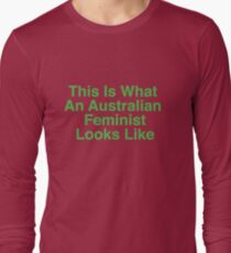 This Is What An Australian Feminist Looks Like (Classic Green & Gold) Long Sleeve T-Shirt