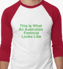 This Is What An Australian Feminist Looks Like (Classic Green & Gold) Men's Baseball ¾ T-Shirt