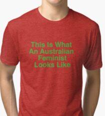 This Is What An Australian Feminist Looks Like (Classic Green & Gold) Tri-blend T-Shirt