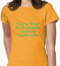 This Is What An Australian Feminist Looks Like (Classic Green & Gold) Women's Fitted T-Shirt