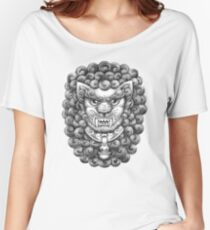 Foo Dog / Guardian Lion Pattern - Black and White Women's Relaxed Fit T-Shirt