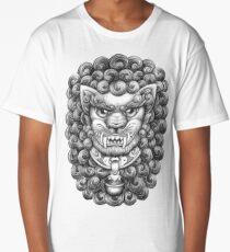 Foo Dog / Guardian Lion Pattern - Black and White Long T-Shirt