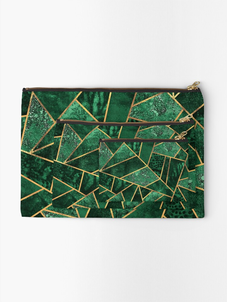 Alternate view of Deep Emerald Zipper Pouch