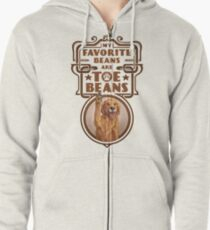 My Favorite Beans Are Toe Beans (Dog) Zipped Hoodie
