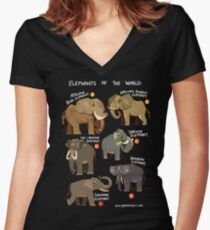Elephants of the World Women's Fitted V-Neck T-Shirt
