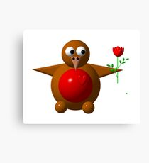 Cute robin with a rose Canvas Print