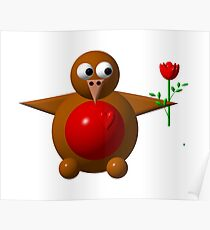 Cute robin with a rose Poster
