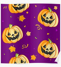 Plastic Pumpkin Print (over purple) Poster