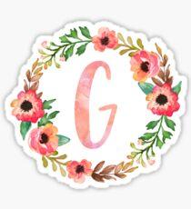 Pink Floral G Sticker