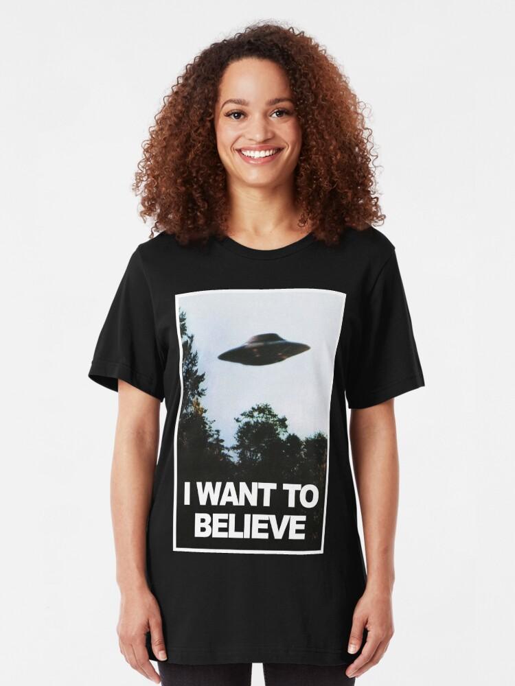 Alternative Ansicht von Ich möchte glauben Slim Fit T-Shirt