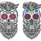Four Bearded Mexican Sugar Skulls by Angela Rafter