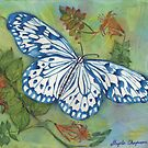 Blithesome Blue China Butterfly by Gayela Chapman
