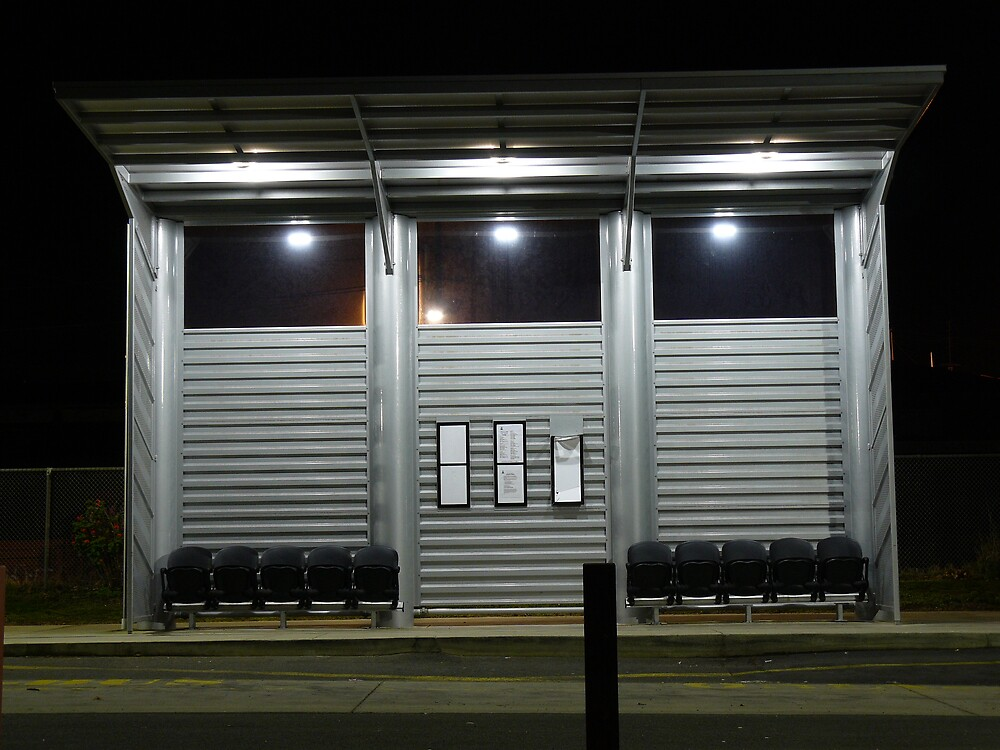 Bus Stop at Night by Joan Wild