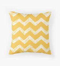 Yellow And White Chevron Pattern Throw Pillow