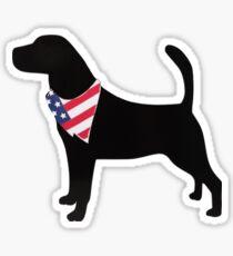 Silhouette of Labrador with American Flag Bandana Sticker