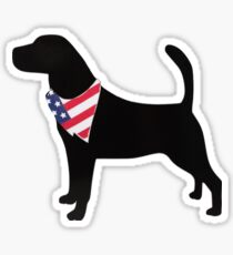 Silhouette of Labrador with American Flag Bandana Sticker Sticker