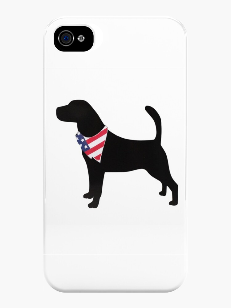 Silhouette of Labrador with American Flag Bandana Sticker by Claire Andrews
