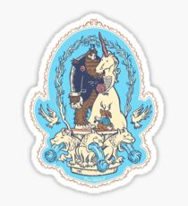 Bigfoot's Big Day - Wedding of Sasquatch & Unicorn Sticker
