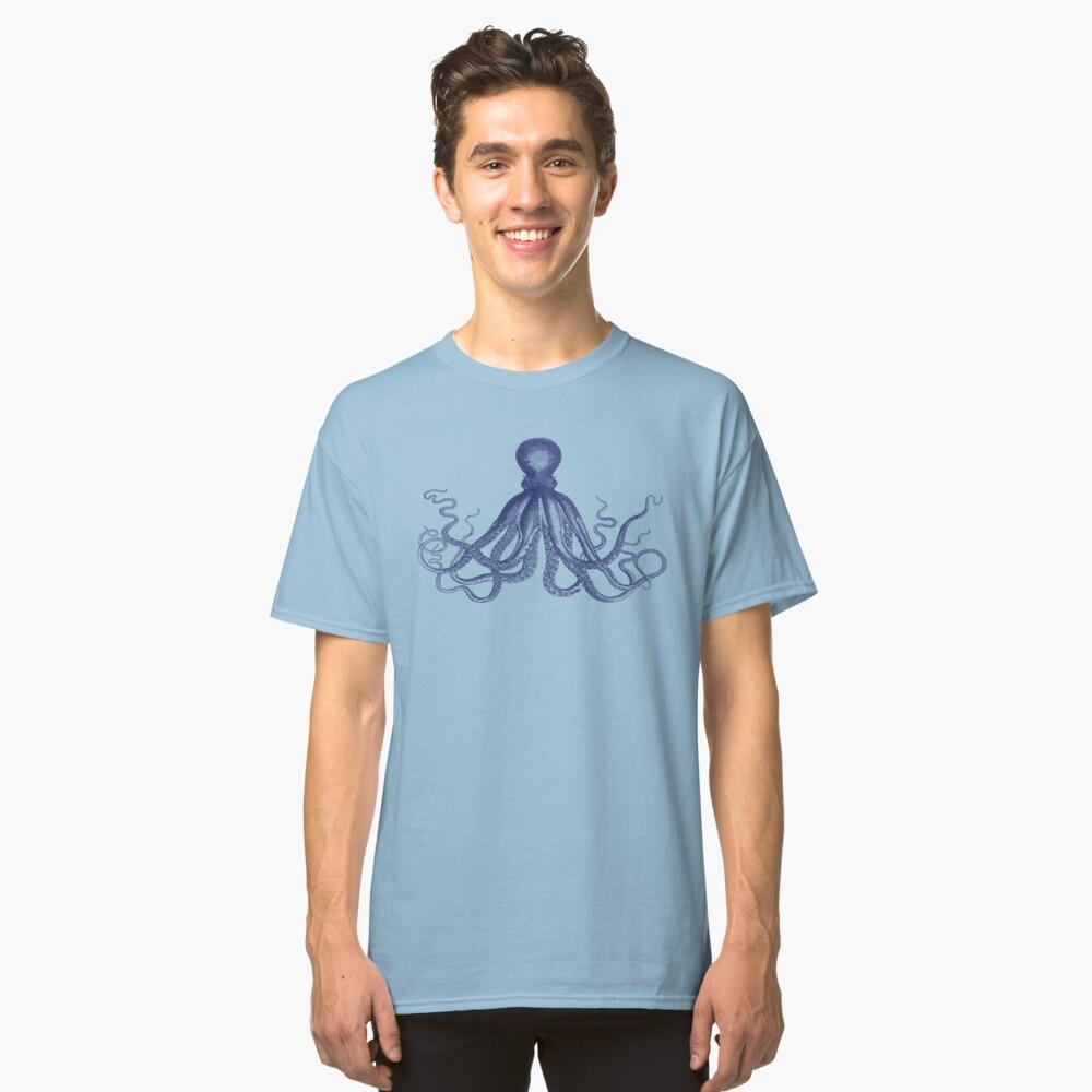 Krake | Weinlese-Krake | Tentakeln | Meeresbewohner | Nautik | Ozean | Meer | Strand | Marineblau und Weiß | Classic T-Shirt
