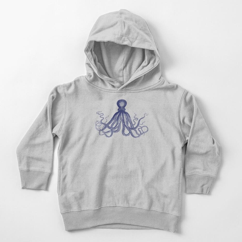 Krake   Weinlese-Krake   Tentakeln   Meeresbewohner   Nautik   Ozean   Meer   Strand   Marineblau und Weiß   Kleinkind Hoodie