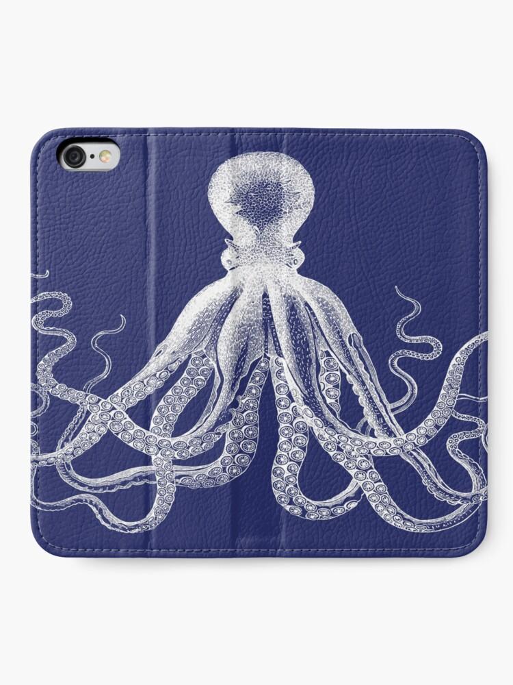Alternative Ansicht von Krake | Weinlese-Krake | Tentakeln | Meeresbewohner | Nautik | Ozean | Meer | Strand | Marineblau und Weiß | iPhone Flip-Case