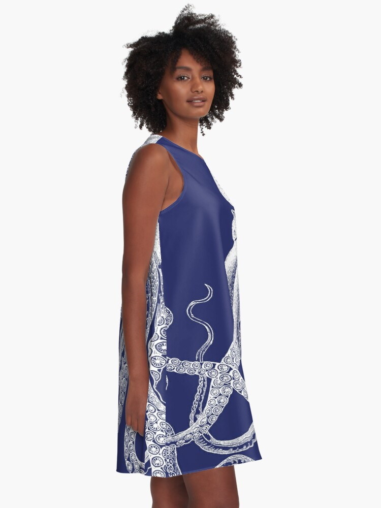 Alternate view of Octopus | Navy Blue and White A-Line Dress