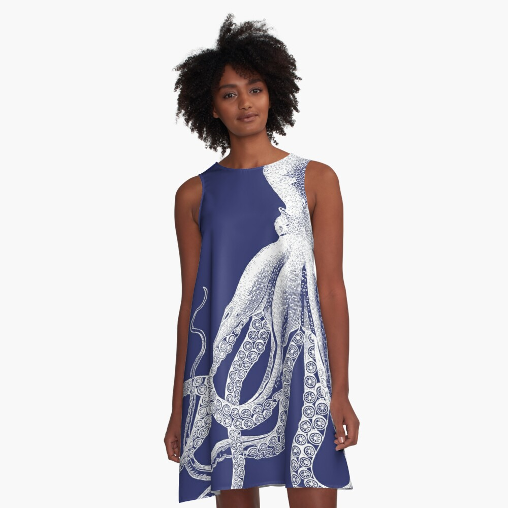 Octopus | Navy Blue and White A-Line Dress