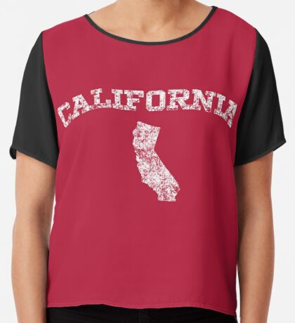 Retro & Vintage California States Shape Chiffon Top