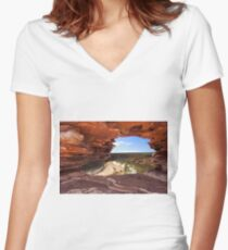 Peaking Through Natures Window  Women's Fitted V-Neck T-Shirt