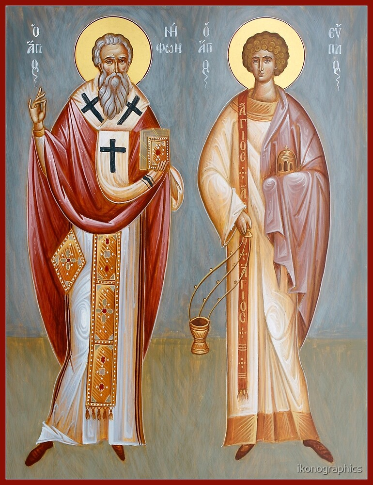 St Niphon of Constantinople and St Evplos (11 August) by ikonographics