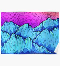 Blue Tone Mountains Poster