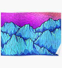 Blue Tone Mountains Poster