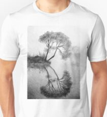 Drawing illustration of tree reflected in the water  T-Shirt