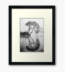 Drawing illustration of tree reflected in the water  Framed Print