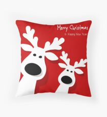 Hollyday Happy Christmas Deer Throw Pillow