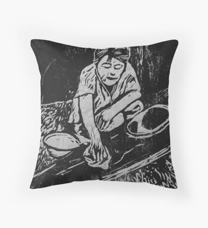 Fluid line canoe 3 Throw Pillow